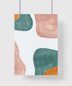Pastelowy plakat z turkusową abstrakcją do biura