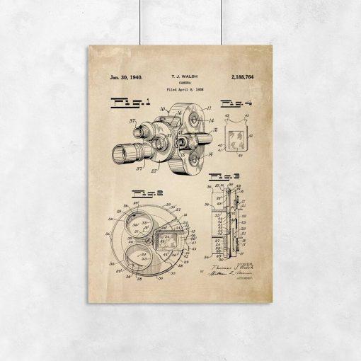 Plakat vintage z koncepcją budowy kamery