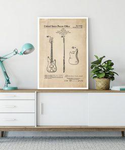 Plakat retro - Gitara basowa do dekoracji sypialni