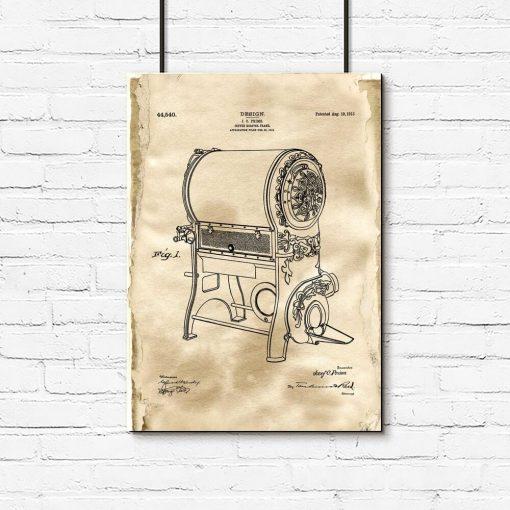 Poster z rysunkiem patentowym urządzenia do prażenia kawy dla baristy