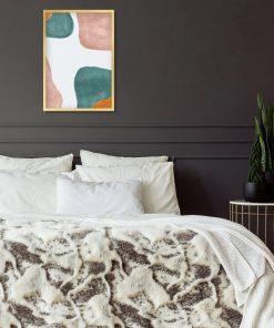 Pastelowy plakat z turkusową abstrakcją do sypialni