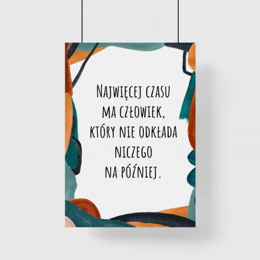 Artystyczny plakat z cytatem o czasie dla kobiet