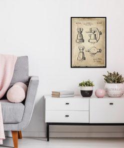 Plakat z rysunkiem opisowym ekspresu kawowego do kuchni