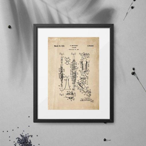 Plakat w sepii z świadectwem do produkcji klarnetu