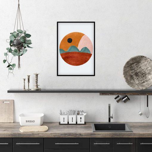 Abstrakcyjny plakat z pejzażem do kuchni