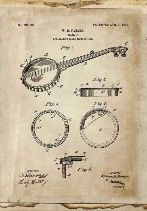 Plakat vintage z rysunkiem bandżo dla muzyka