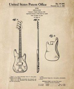 Plakat retro z gitarą basową