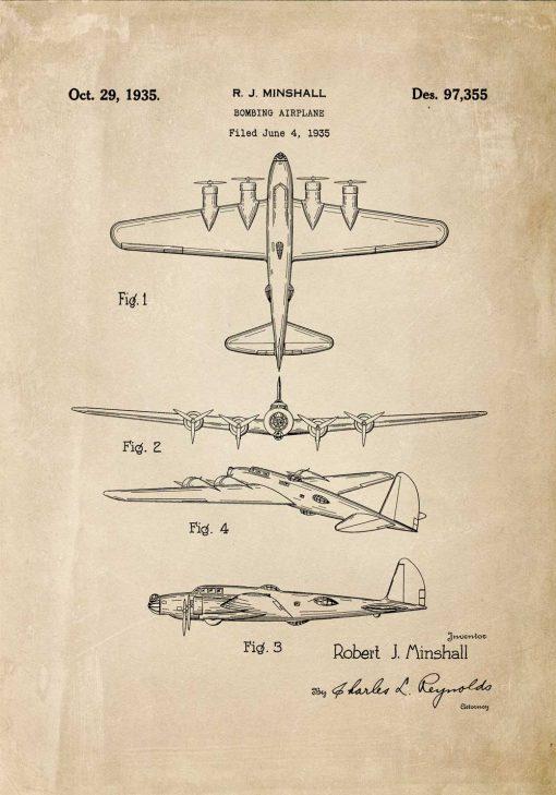Patent na samolot bombowy - plakat