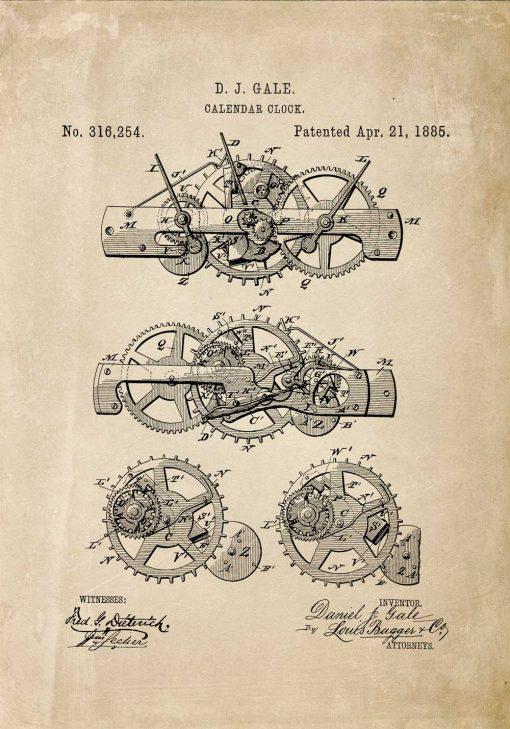 Poster stary z patetntem na budowę mechanizmu uruchamiającego kalendarz