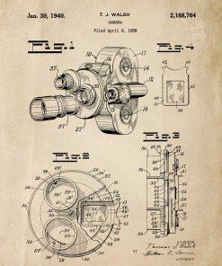 Poster vintage - patent kamery filmowej do dekoracji gabinetu