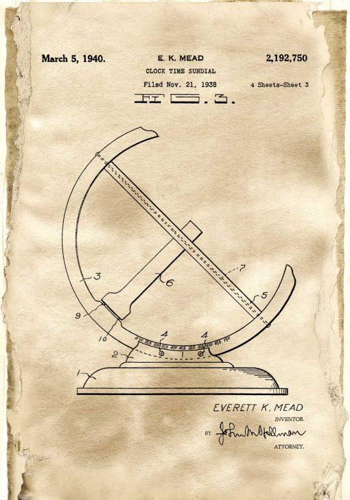 Plakat z rysunkiem opisowym zegara słonecznego do pokoju