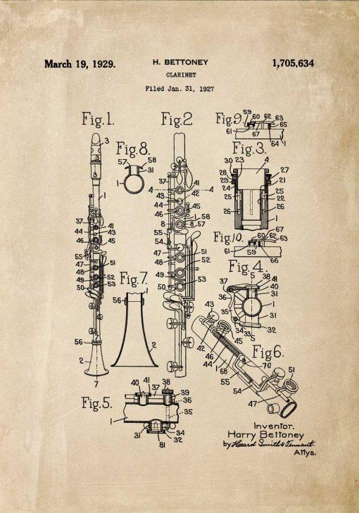 Plakat rysunek budowy klarnetu