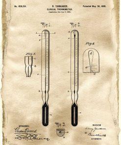 Plakat rysunek ze schematem budowy termometru