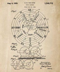 Plakat z wynalazkiem z 1924r. - kalendarz zegarowy