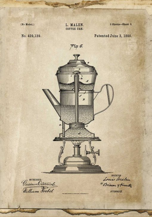 Plakat ze schematem budowy kawiarki