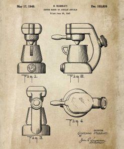 Plakat z rysunkiem opisowym ekspresu kawowego do jadalni