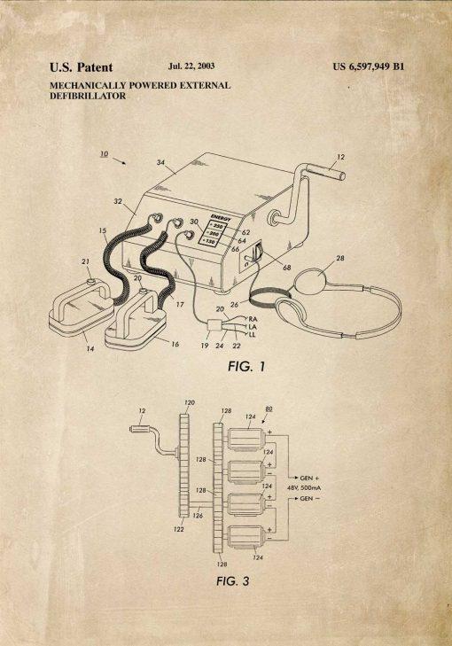 Plakat z planem budowy przenośnego defibrylatora