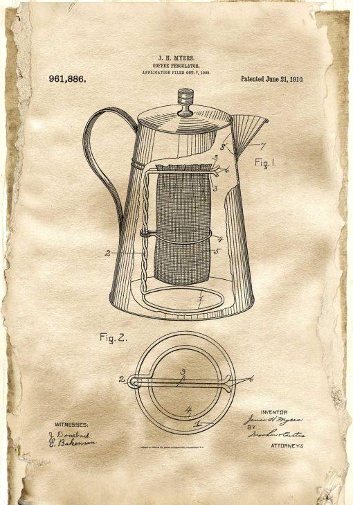 Plakat dla miłośnika kawy - Kawiarka z 1910 roku na prezent