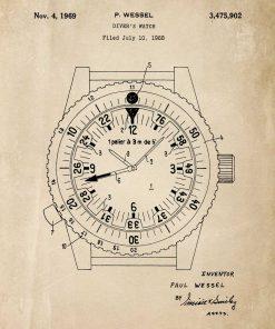 Plakat bez ramy z projektem zegarka pod wodę