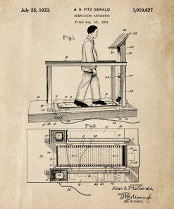 Poster z reprodukcją patentu na bieżnię na salkę fitness