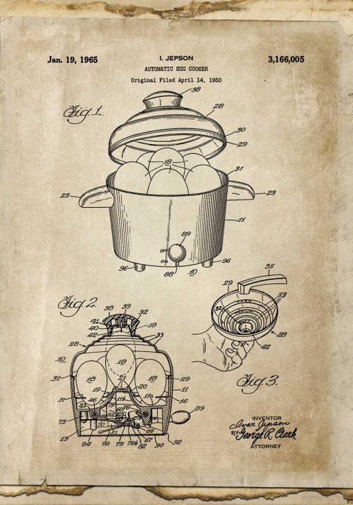 Plakat z licencja na produkcję automatu do gotowania jajek