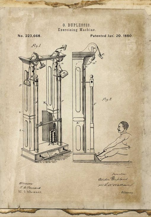 Plakat ze schematem budowy maszyny gimnastycznej