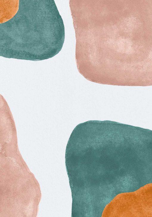 Pastelowy plakat z turkusową abstrakcją do gabinetu