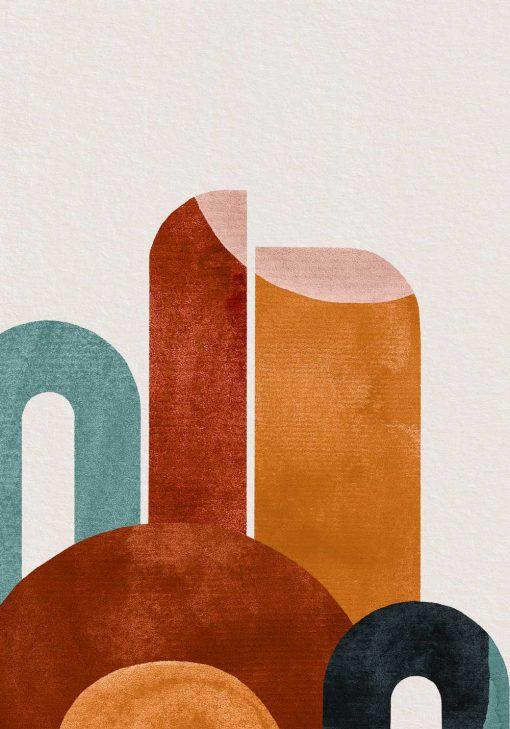 Plakat abstrakcyjne figury w kolorach czekolady