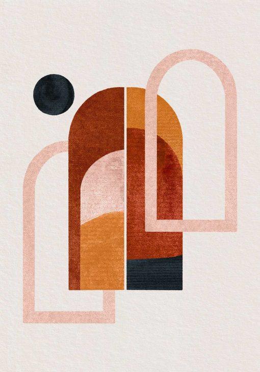 Plakat z abstrakcyjnymi oknami w kolorze brązowym