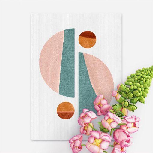 Pastelowy plakat z wzorami geometrycznymi