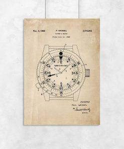 Plakat vintage z zegarkiem dla nurka