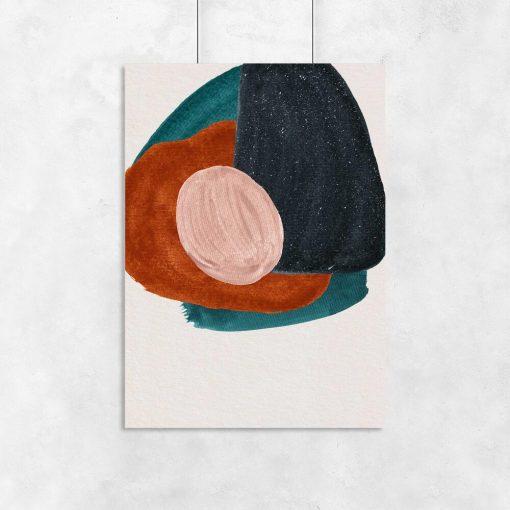 Plakat w zielono-brązowych kolorach z abstrakcją