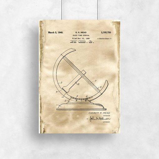 Plakat z rysunkiem opisowym zegara słonecznego do biura