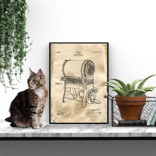 Poster z rysunkiem patentowym urządzenia do prażenia kawy do jadalni