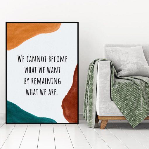 Plakat z napisem po angielsku o byciu sobą do salonu