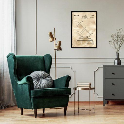 Plakat z rysunkiem opisowym zegara słonecznego do salonu