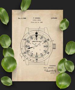 Plakat w kolorze beżowym z zegarkiem dla nurka