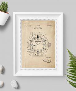Plakat do oprawienia ze schematem budowy zegarka wodoszczelnego