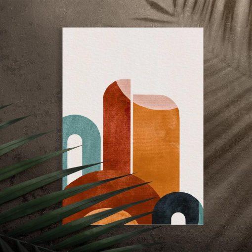 Plakat z abstrakcyjnymi figurami