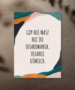 Kolorowy plakat z abstrakcja i sentencją o ofiarowywaniu