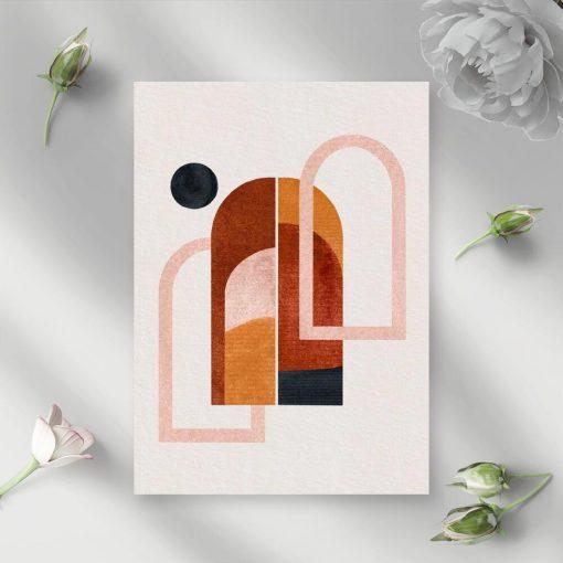 Plakat z abstrakcyjnymi oknami i pejzażem