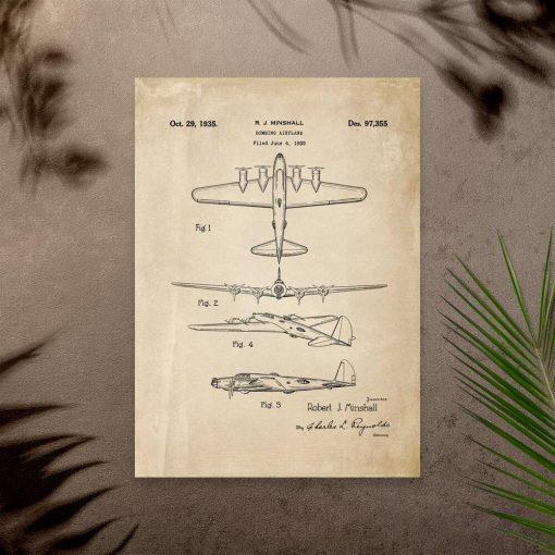 Poster ze starym bombowcem