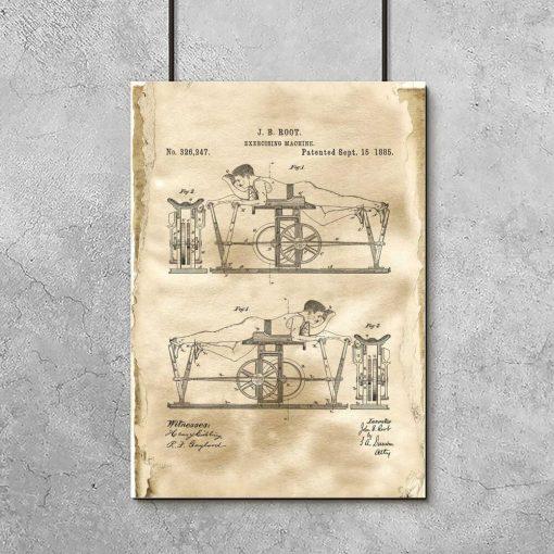 Plakat retro na siłownię z maszyna do ćwiczeń dla mężczyzn
