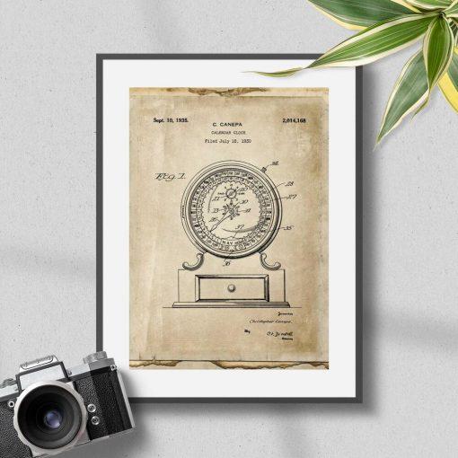 Poster w sepii z rysunkiem kalendarza mechanicznego