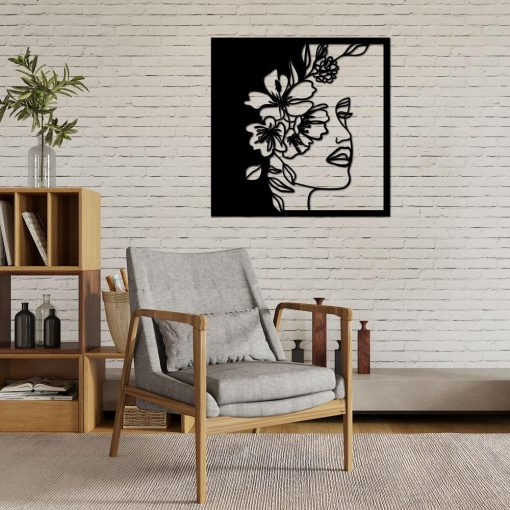 Kobieca twarz w kwiatach - panel 3d