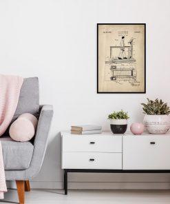 Poster z reprodukcją patentu na bieżnię do salonu