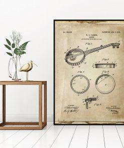 Plakat vintage z rysunkiem bandżo do biura