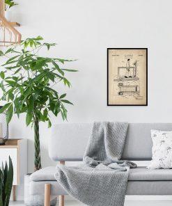 Poster z reprodukcją patentu na bieżnię na salę gimnastyczną
