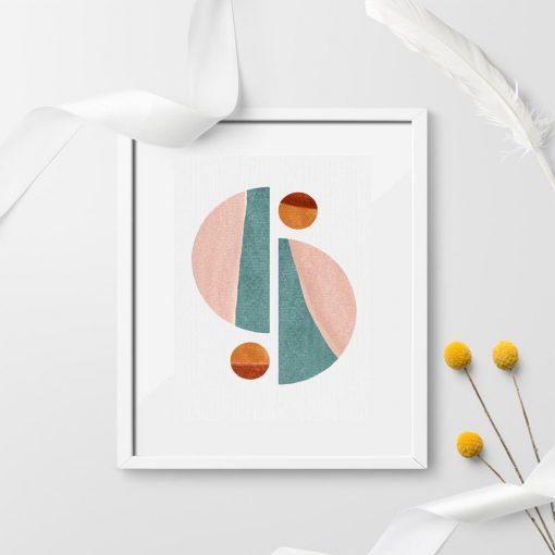 Plakat z figurami geometrycznymi do dekoracji korytarza
