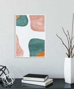 Pastelowy plakat z turkusową abstrakcją do przedpokoju